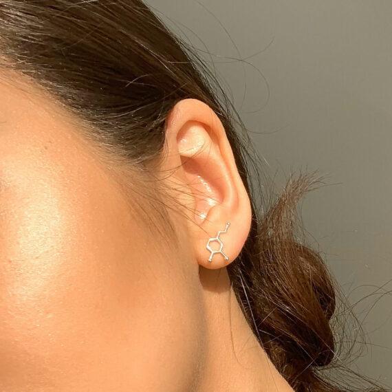 srebrne kolczyki z wzorem dopaminy - biżuteria z wzorami chemicznymi