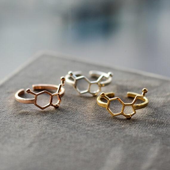 srebrne pierścionki z wzorem serotoniny