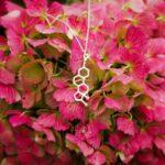 srebrny naszyjniki z wzorem chemicznym estrogenu - molekularna biżuteria