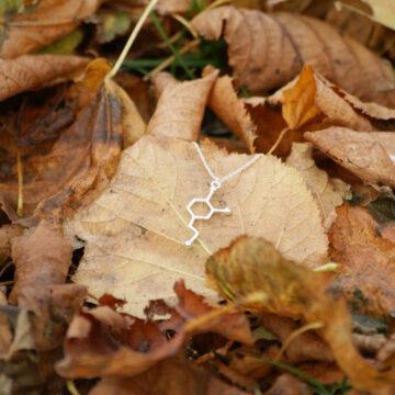 srebrny wisiorek z wzorem chemicznym dopaminy - jesienna biżuteria damska