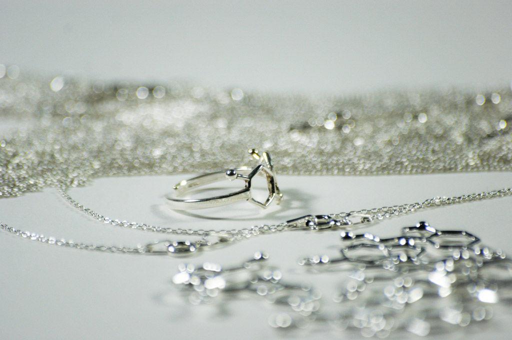 srebrna biżuteria damska z motywami wzorów chemicznych