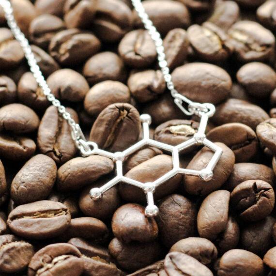srebrny naszyjnik z kofeiną - biżuteria damska