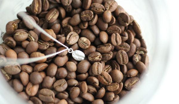 felica molekulo - srebrny naszyjnik z ziarnem kawy