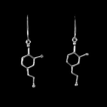 kolczyki wiszące na biglach z wzorem dopaminy
