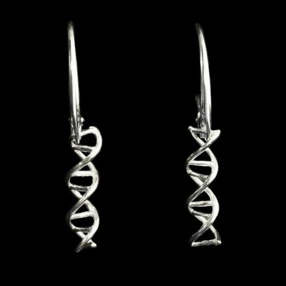 srebrne kolczyki wiszące z motywem neukowym - kolczyki z helisą dna