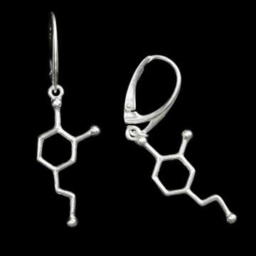 srebrne kolczyki wiszące na biglach angielskich z wisiorkami z wzorem dopaminy - biżuteria molekularna