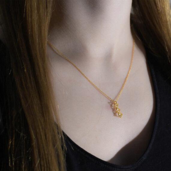 naszyjnik z helisą DNA - srebrna biżuteria damska