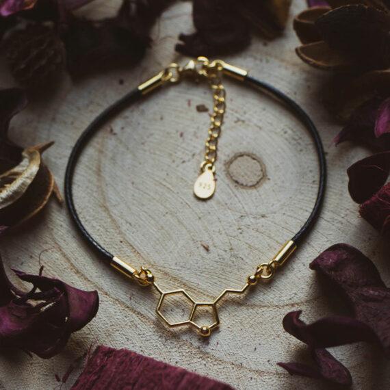 pozłacana bransoletka na sznurku jubilerskim ze wzorem serotoniny