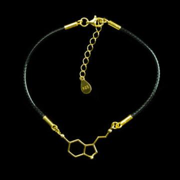 pozłacana bransoletka z wzorem serotoniny na woskowanym sznurku jubilerskim z przedłużką