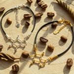 Damskie bransoletki sznurkowe ze wzorem kofeiny - biżuteria modowa ze srebra