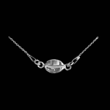 srebrny naszyjnik bez niklu z zawieszką ziarno kawy - gadzety dla kawosza